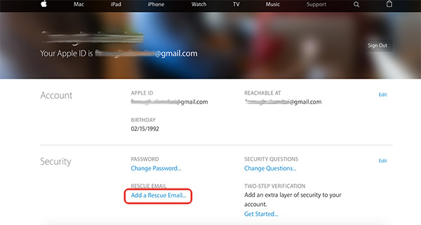 how to change rescue email for apple id